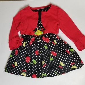 Ashley Ann cherry dress w/cardigan, 12M